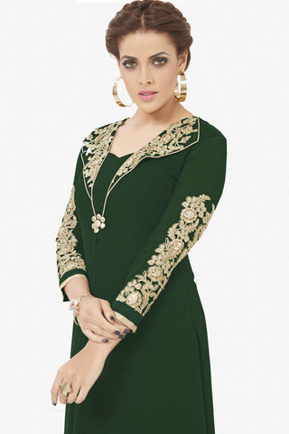 Designer Top:atisundar Beautiful Faux Georgette Designer Party Wear Top in Embroidered Faux Georgette in Dark Green - 11638 - atisundar - 3