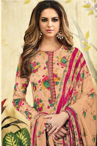 Designer Straight Cut Suit with  Jacquard Print and EMbroidery:atisundar exquisite Peach print with embroidered - 14411