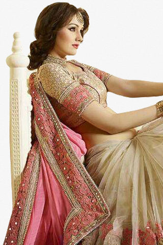 Designer Saree:atisundar wonderful Designer Party Wear Saree in Pink And Cream  - 12810