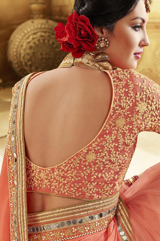 Designer Saree:atisundar exquisite Designer Party Wear Saree in Peach  - 12811