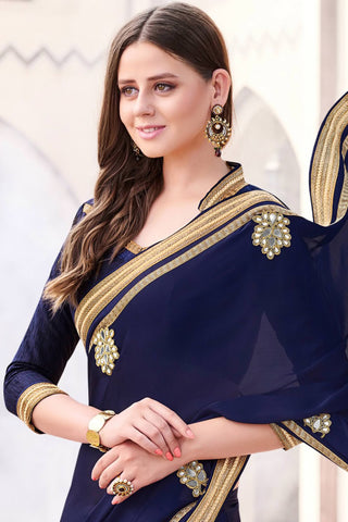 Designer Saree:atisundar divine Designer Party Wear Saree in Blue  - 13031