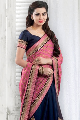Designer Saree:atisundar fair Designer Party Wear Saree in Pink And Blue  - 13032