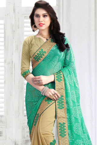 Designer Saree:atisundar Great Designer Party Wear Saree in Green And Beige  - 13033