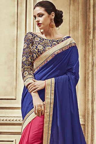 Designer Saree:atisundar Attractive Designer Party Wear Saree in Blue And Pink  - 13034