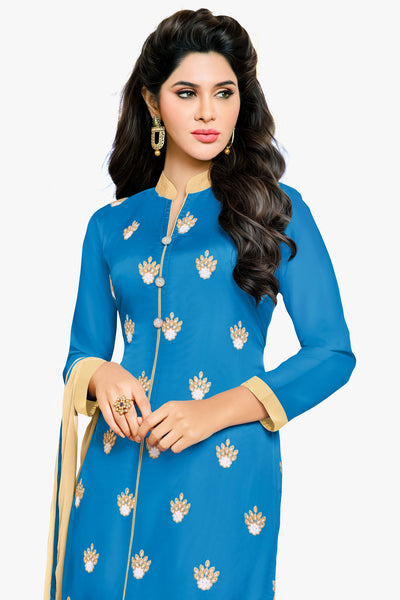 Designer Straight Cut:atisundar Alluring Blue Designer Embroidered Party Wear Straight Cut in Art Paper Silk - 11906 - atisundar - 2 - click to zoom