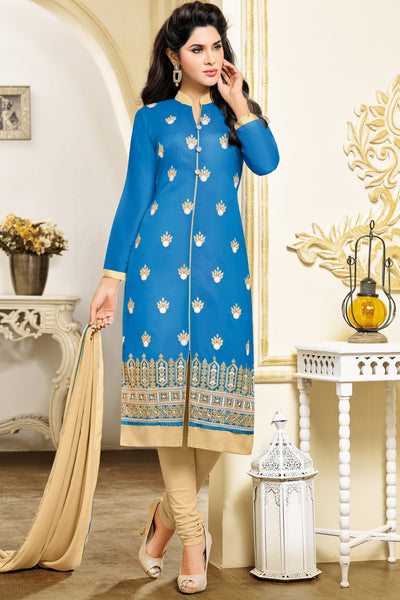 Designer Straight Cut:atisundar Alluring Blue Designer Embroidered Party Wear Straight Cut in Art Paper Silk - 11906 - atisundar - 3 - click to zoom