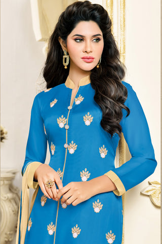 Designer Straight Cut:atisundar Alluring Blue Designer Embroidered Party Wear Straight Cut in Art Paper Silk - 11906 - atisundar - 4