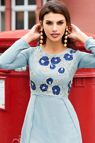 Designer Party wear Top:atisundar delicate Faux Georgette Designer Embroidered Party Wear Top in Sky Blue - 12385 - atisundar - 5