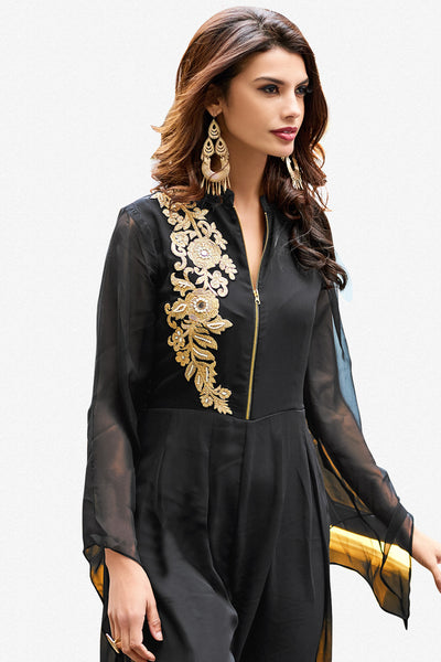 Designer Party wear Top:atisundar Great Faux Georgette Designer Embroidered Party Wear Top in Black - 12388 - atisundar - 2 - click to zoom