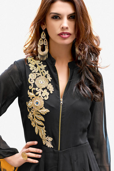 Designer Party wear Top:atisundar Great Faux Georgette Designer Embroidered Party Wear Top in Black - 12388 - atisundar - 3 - click to zoom