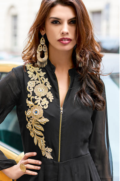 Designer Party wear Top:atisundar Great Faux Georgette Designer Embroidered Party Wear Top in Black - 12388 - atisundar - 7 - click to zoom