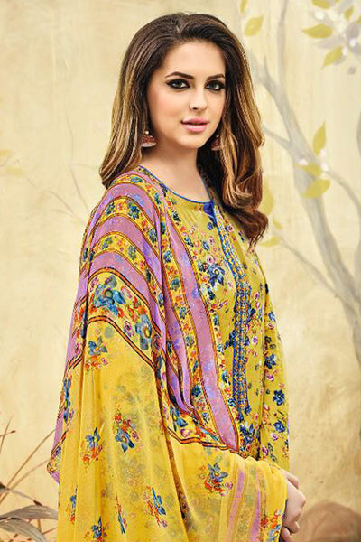 Designer Straight Cut Suit with  Jacquard Print and EMbroidery:atisundar lovely Yellow print with embroidered - 14413 - click to zoom