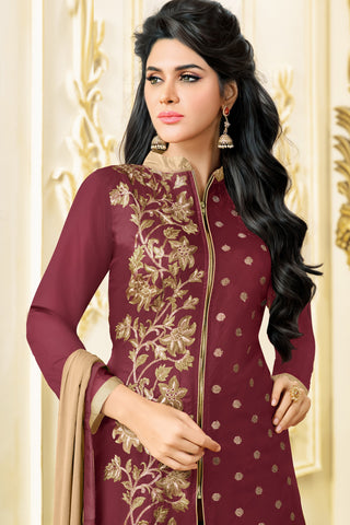 Designer Straight Cut:atisundar fair Maroon Designer Embroidered Party Wear Straight Cut in Art Paper Silk - 11910 - atisundar - 4
