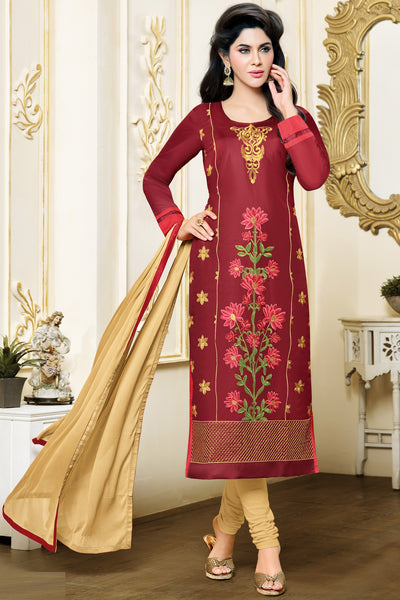Designer Straight Cut:atisundar divine Marron Designer Embroidered Party Wear Straight Cut in Art Paper Silk - 11912 - atisundar - 3 - click to zoom