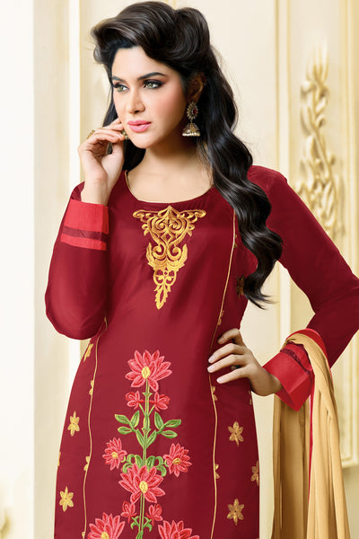 Designer Straight Cut:atisundar divine Marron Designer Embroidered Party Wear Straight Cut in Art Paper Silk - 11912 - atisundar - 4 - click to zoom