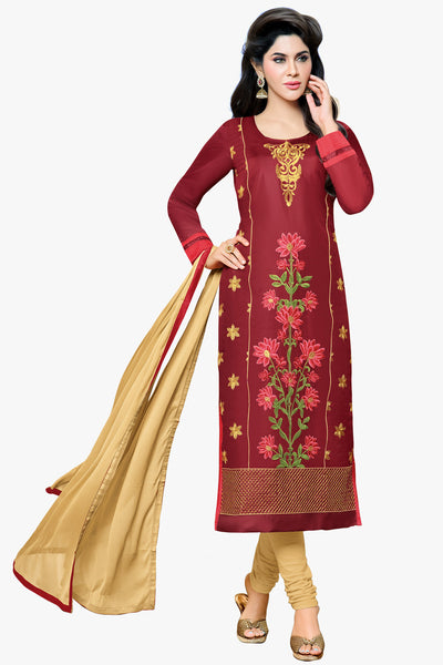 Designer Straight Cut:atisundar divine Marron Designer Embroidered Party Wear Straight Cut in Art Paper Silk - 11912 - atisundar - 1 - click to zoom