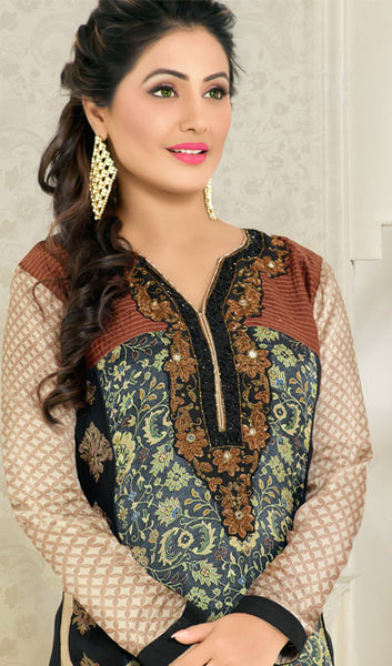 The Heena Khan Collection:atisundar angelic Grey Designer Prints  with Embroidery  - 9774 - click to zoom