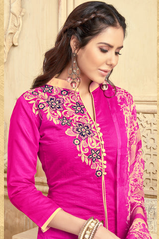 Designer Embroidered Straight Cut Suit With Printed Dupatta:atisundar splendid Pink Designer Party Wear Straight Cut  - 14823