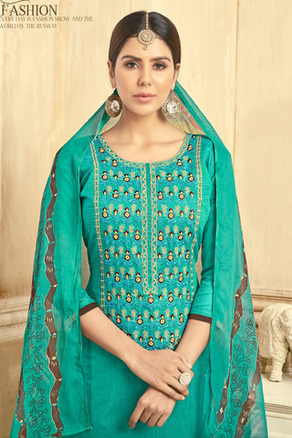 Designer Embroidered Straight Cut Suit With Printed Dupatta:atisundar Lovely Green Designer Party Wear Straight Cut  - 14824