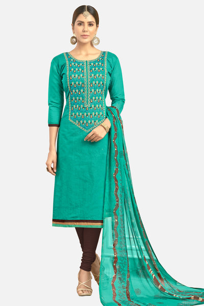 Designer Embroidered Straight Cut Suit With Printed Dupatta:atisundar Lovely Green Designer Party Wear Straight Cut  - 14824 - click to zoom