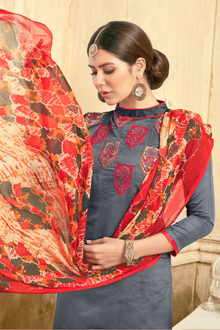 Designer Embroidered Straight Cut Suit With Printed Dupatta:atisundar Alluring Grey Designer Party Wear Straight Cut  - 14826