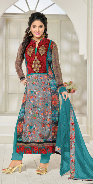 The Heena Khan Collection:atisundar charming Green And Grey And Multi Designer Prints  with Embroidery  - 9779 - atisundar - 3 - click to zoom