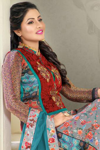 The Heena Khan Collection:atisundar charming Green And Grey And Multi Designer Prints  with Embroidery  - 9779