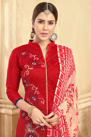 Designer Embroidered Straight Cut Suit With Printed Dupatta:atisundar bewitching Red Designer Party Wear Straight Cut  - 14828