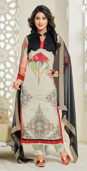 The Heena Khan Collection:atisundar radiant Off White And Black Designer Prints  with Embroidery  - 9781 - atisundar - 2 - click to zoom