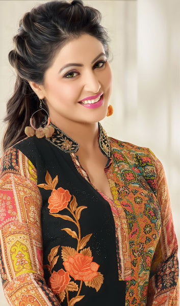 The Heena Khan Collection:atisundar magnificent Orange And Black Designer Prints  with Embroidery  - 9782 - atisundar - 3 - click to zoom