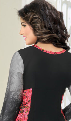 The Heena Khan Collection:atisundar Great Pink And Grey And Multi Designer Prints  with Embroidery  - 9783 - atisundar - 2