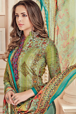 Exclusive Printed Suits With Self embroidery:atisundar Lovely Green Straight Cut with Embroidery and Digital Print - 15462