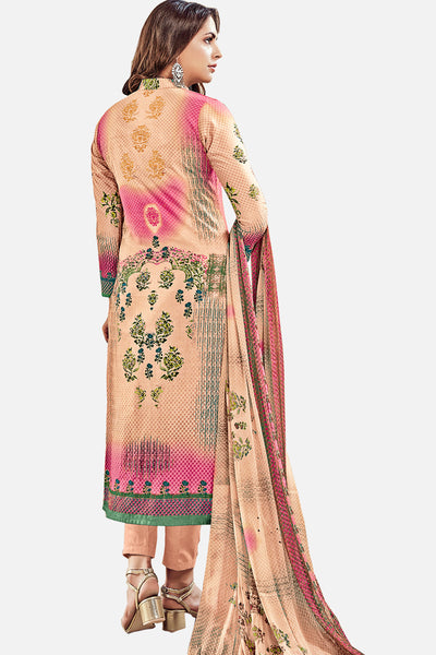 Exclusive Printed Suits With Self embroidery:atisundar elegant Peach Straight Cut with Embroidery and Digital Print - 15465 - click to zoom