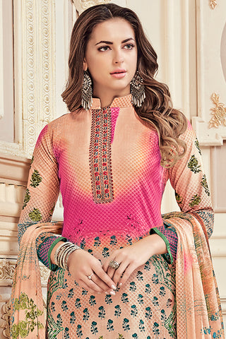Exclusive Printed Suits With Self embroidery:atisundar elegant Peach Straight Cut with Embroidery and Digital Print - 15465