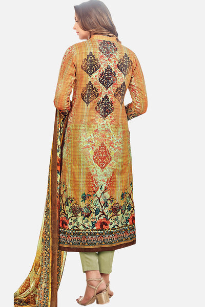 Exclusive Printed Suits With Self embroidery:atisundar Attractive Yellow Straight Cut with Embroidery and Digital Print - 15466 - click to zoom