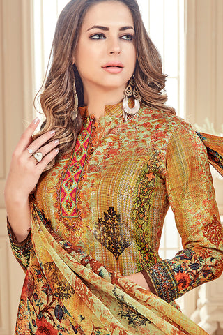 Exclusive Printed Suits With Self embroidery:atisundar Attractive Yellow Straight Cut with Embroidery and Digital Print - 15466
