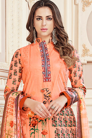 Exclusive Printed Suits With Self embroidery:atisundar beauteous Peach Straight Cut with Embroidery and Digital Print - 15468