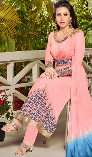 The Karishma Kapoor Collection:atisundar enticing Light Pink Designer Embroidered Straight Cut Suits In Faux Georgette - 9838 - atisundar - 2 - click to zoom