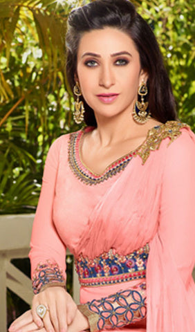 The Karishma Kapoor Collection:atisundar enticing Light Pink Designer Embroidered Straight Cut Suits In Faux Georgette - 9838 - atisundar - 3 - click to zoom