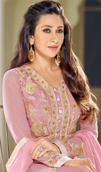 The Karishma Kapoor Collection:atisundar Lovely Pink Designer Embroidered Straight Cut Suits In Faux Georgette - 9840 - atisundar - 2 - click to zoom