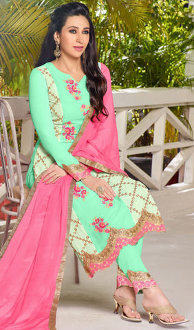 The Karishma Kapoor Collection:atisundar appealing Sea Green Designer Embroidered Straight Cut Suits In Faux Georgette - 9842 - atisundar - 2 - click to zoom
