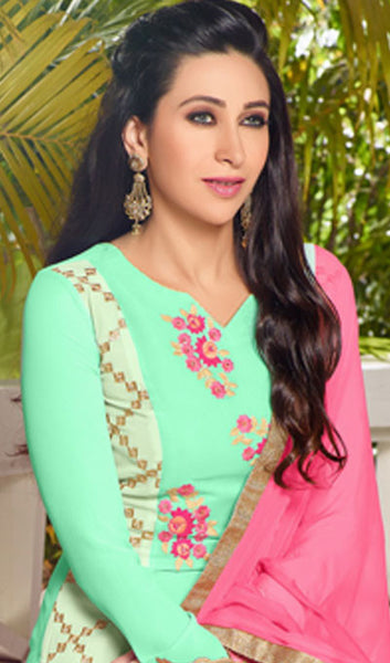 The Karishma Kapoor Collection:atisundar appealing Sea Green Designer Embroidered Straight Cut Suits In Faux Georgette - 9842 - atisundar - 3 - click to zoom