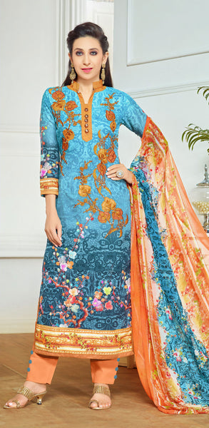 The Karishma Kapoor Collection:atisundar appealing Sky Blue Designer Straight Cut  - 9969 - click to zoom
