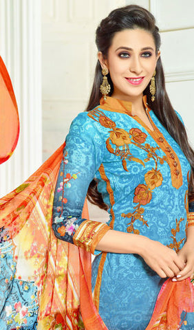 The Karishma Kapoor Collection:atisundar appealing Sky Blue Designer Straight Cut  - 9969 - atisundar - 4