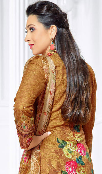 The Karishma Kapoor Collection:atisundar Alluring Red And Beige Designer Straight Cut  - 9970 - click to zoom