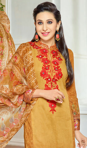 The Karishma Kapoor Collection:atisundar Alluring Red And Beige Designer Straight Cut  - 9970 - atisundar - 3 - click to zoom