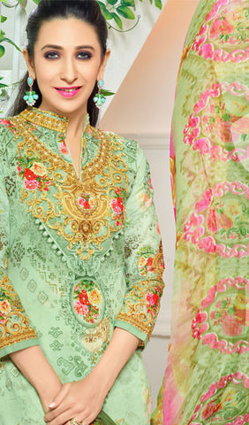The Karishma Kapoor Collection:atisundar admirable Sea Green Designer Straight Cut  - 9976 - atisundar - 4