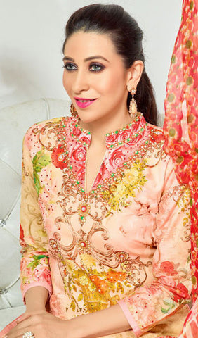 The Karishma Kapoor Collection:atisundar Charismatic Red And Light Pink Designer Straight Cut  - 9977 - atisundar - 3
