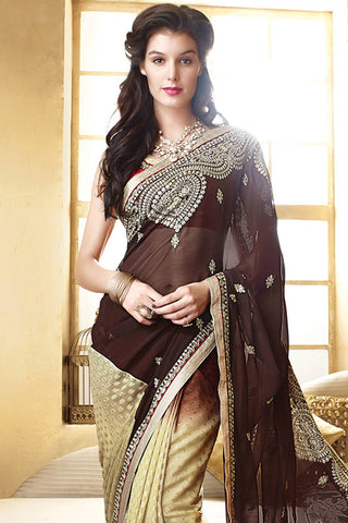 Designer Saree:atisundar superb Designer Party Wear Saree in Brown And Cream  - 12781