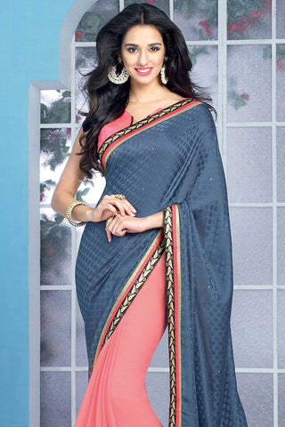 Designer Saree:atisundar Beautiful Designer Party Wear Saree in Pink And Blue  - 12782